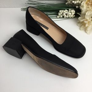 Paloma Made in Italy Black Square Toe Block Heel